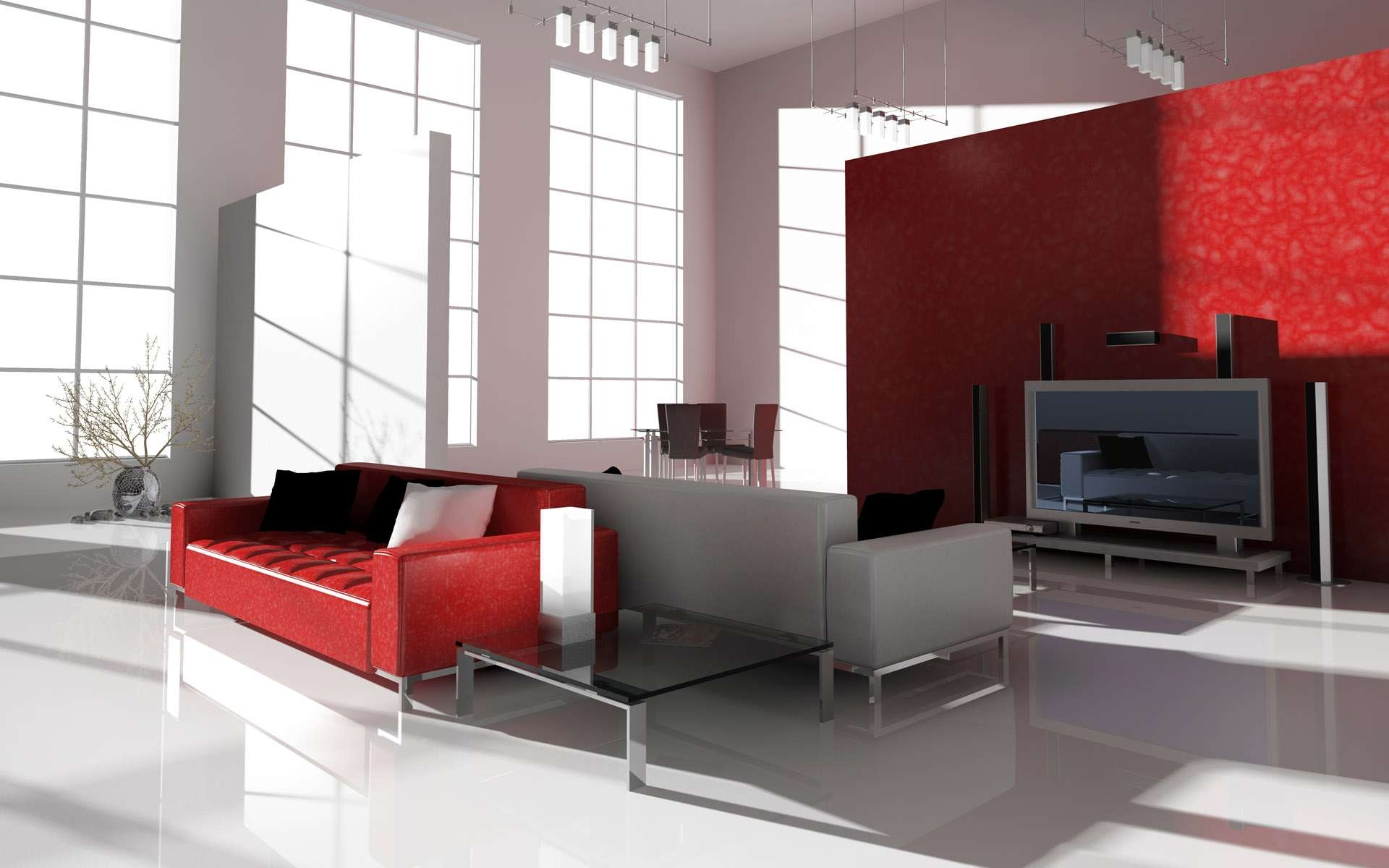 Incredible Interior Elegant Interior Home Designs Red White Theme Upholstery Sofa And Square Glass Counter Of Low Table Chrome Legs Style Decorated Wall Unit  Pertaining To Interior Designs For Homes - www.expofacto.co